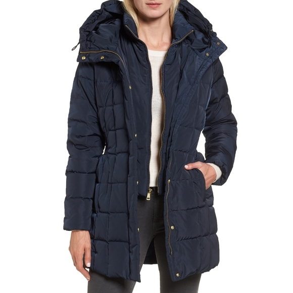 Cole Haan Blue Signature Hooded Down Puffer Coat